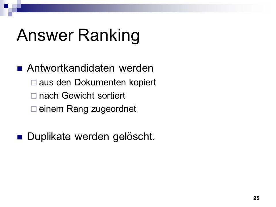 Answer Ranking Antwortkandidaten werden Duplikate werden gelöscht.