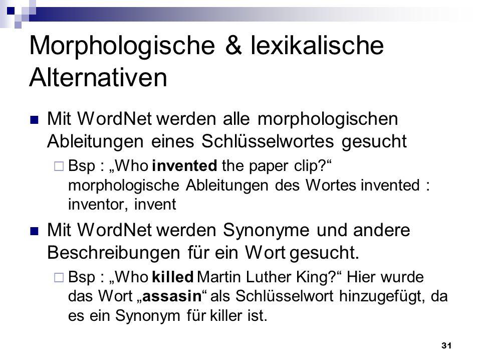 Morphologische & lexikalische Alternativen