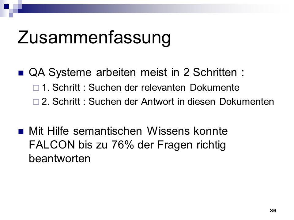 Zusammenfassung QA Systeme arbeiten meist in 2 Schritten :