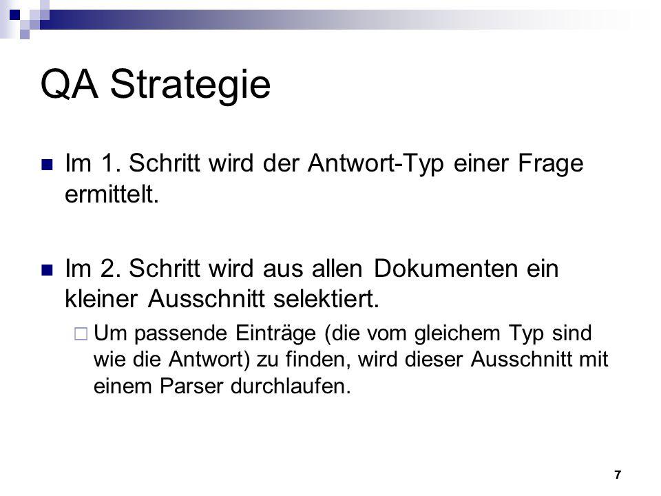 QA Strategie Im 1. Schritt wird der Antwort-Typ einer Frage ermittelt.