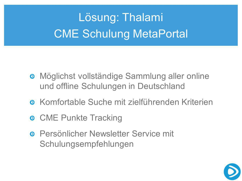 Lösung: Thalami CME Schulung MetaPortal