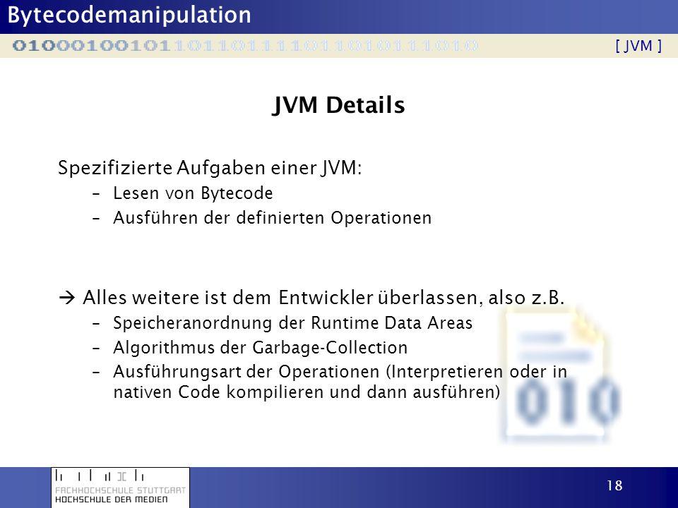 JVM Details Spezifizierte Aufgaben einer JVM: