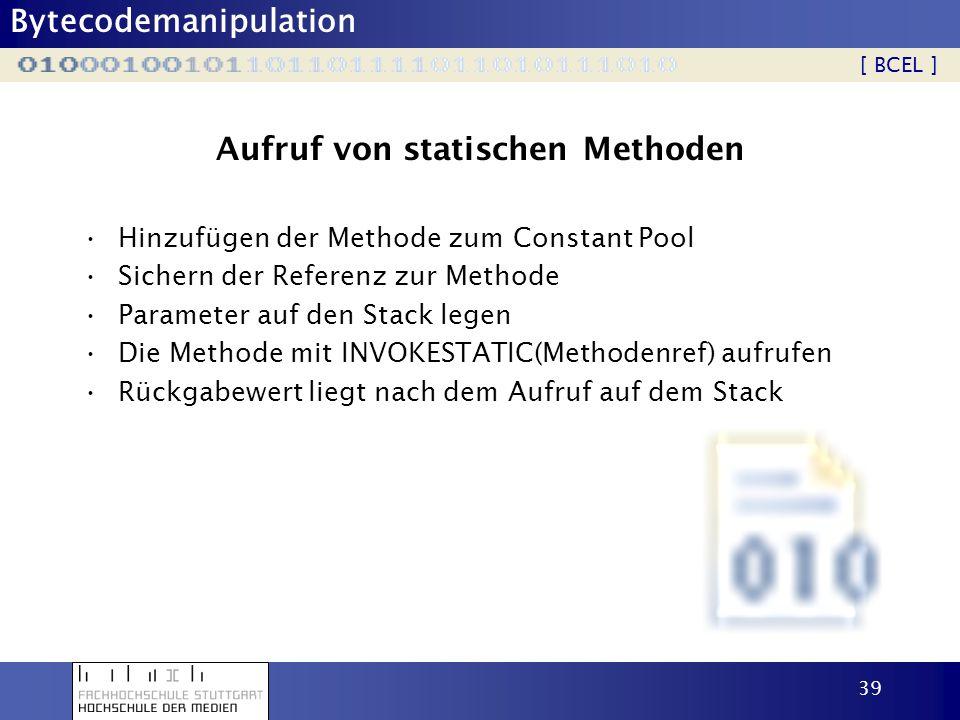 Aufruf von statischen Methoden
