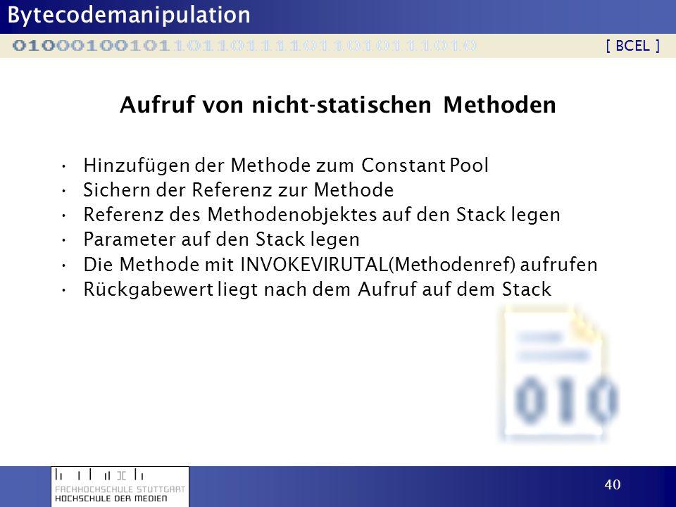 Aufruf von nicht-statischen Methoden