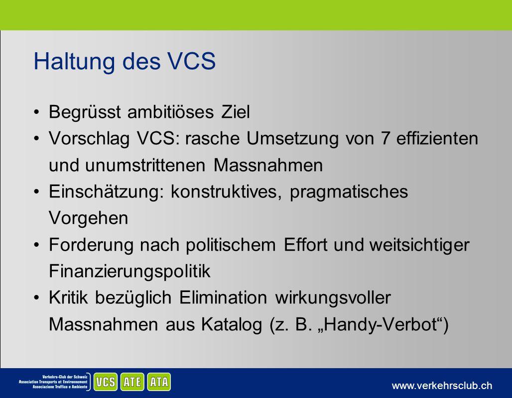Haltung des VCS Begrüsst ambitiöses Ziel