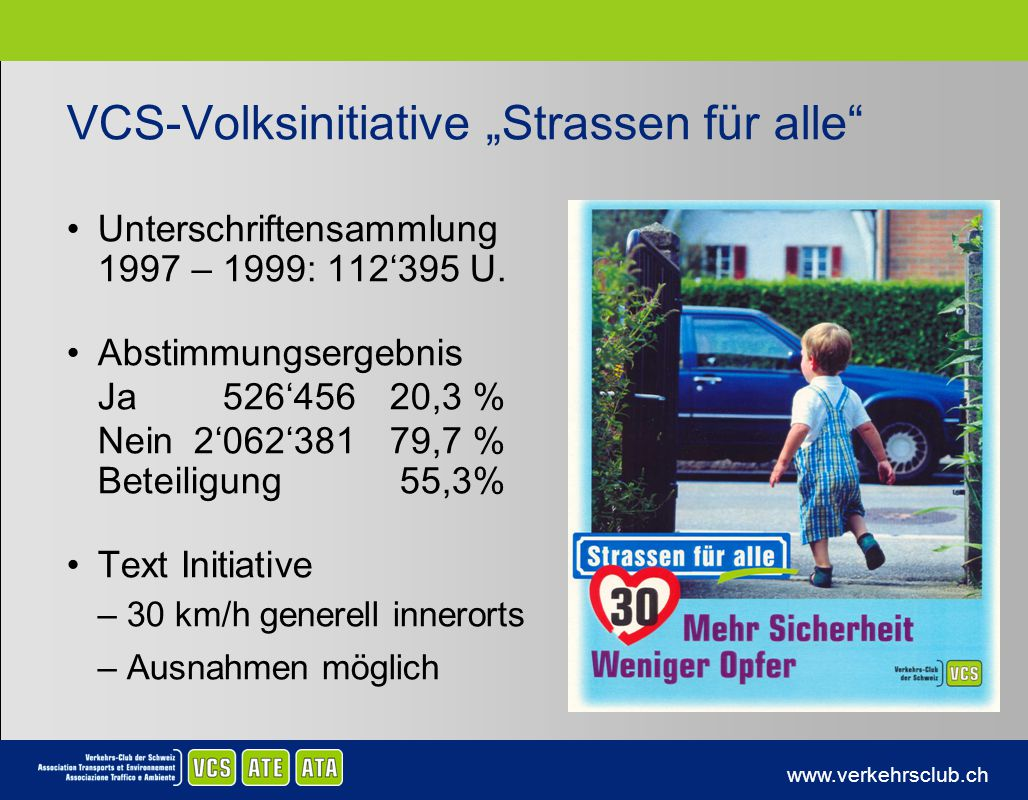 """VCS-Volksinitiative """"Strassen für alle"""