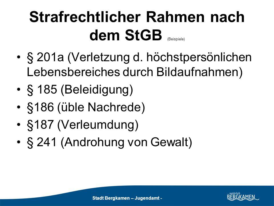 Strafrechtlicher Rahmen nach dem StGB (Beispiele)