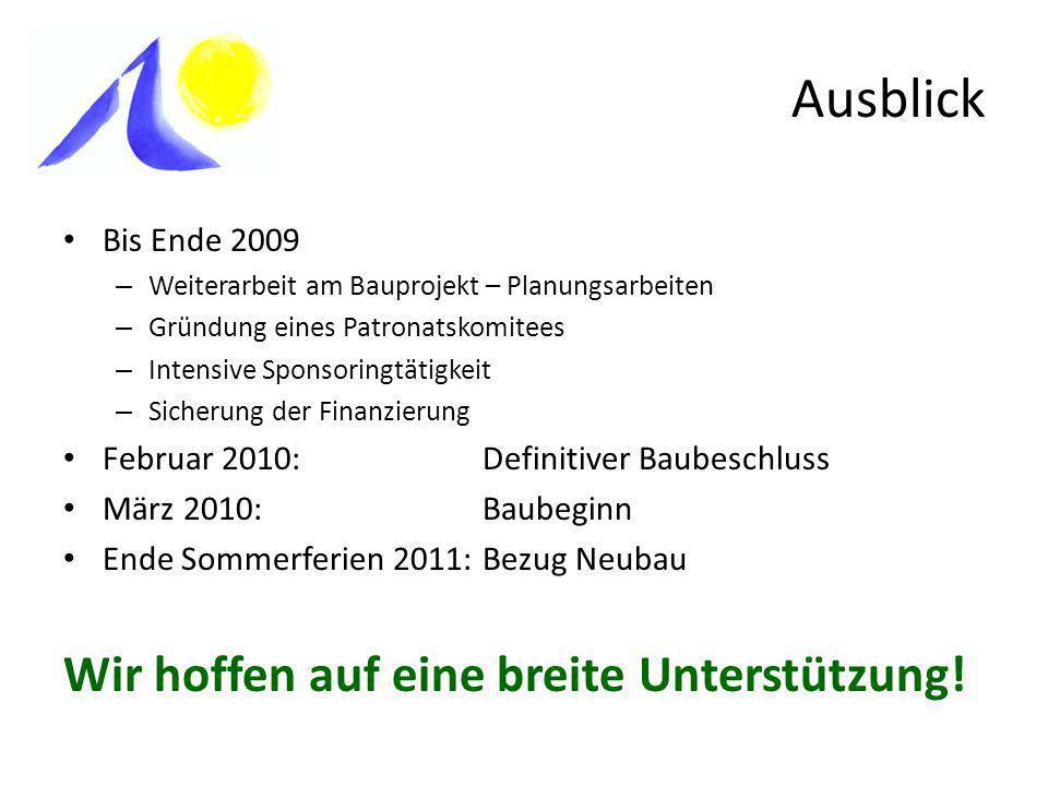 Ausblick Wir hoffen auf eine breite Unterstützung! Bis Ende 2009