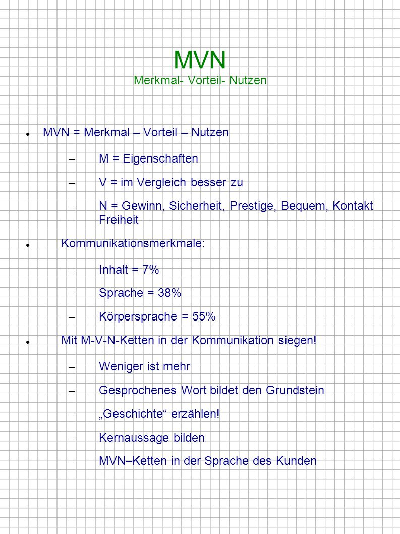 MVN Merkmal- Vorteil- Nutzen