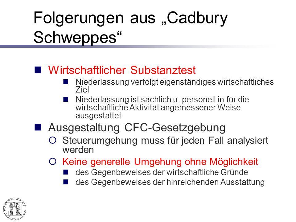 """Folgerungen aus """"Cadbury Schweppes"""