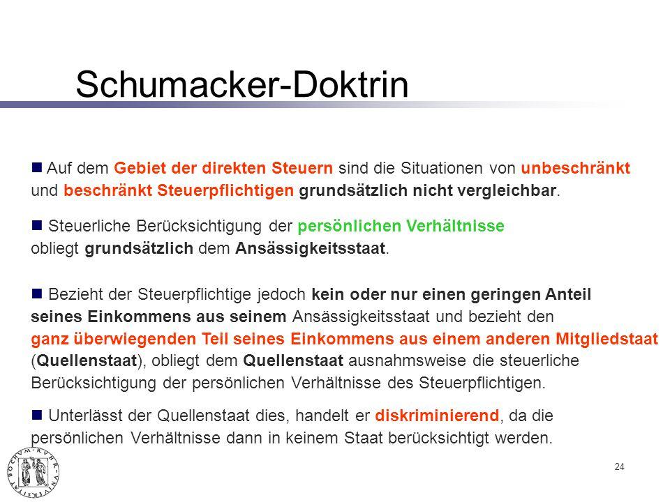 Schumacker-Doktrin Auf dem Gebiet der direkten Steuern sind die Situationen von unbeschränkt.
