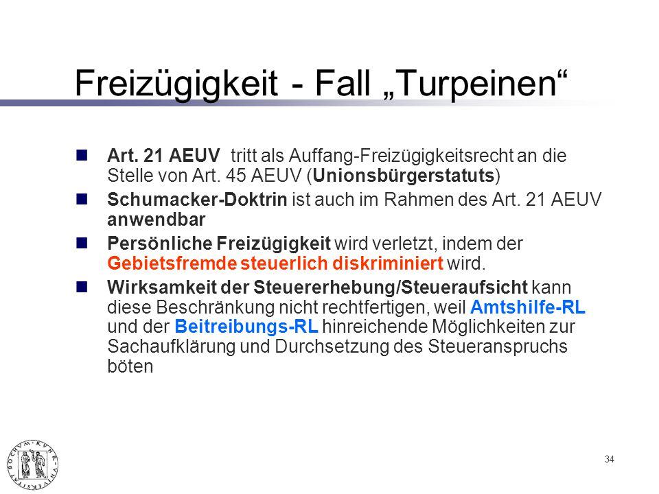 """Freizügigkeit - Fall """"Turpeinen"""
