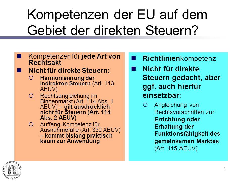 Kompetenzen der EU auf dem Gebiet der direkten Steuern