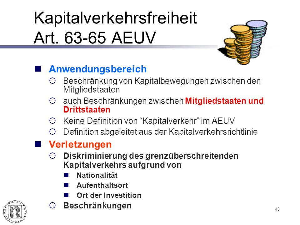 Kapitalverkehrsfreiheit Art. 63-65 AEUV