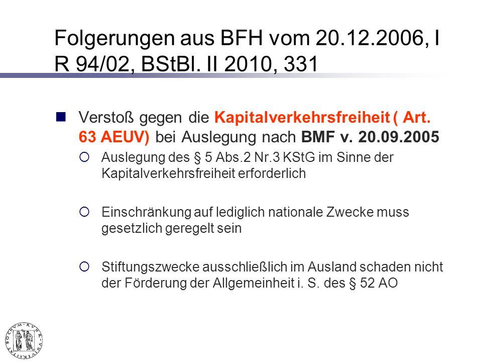 Folgerungen aus BFH vom 20.12.2006, I R 94/02, BStBl. II 2010, 331