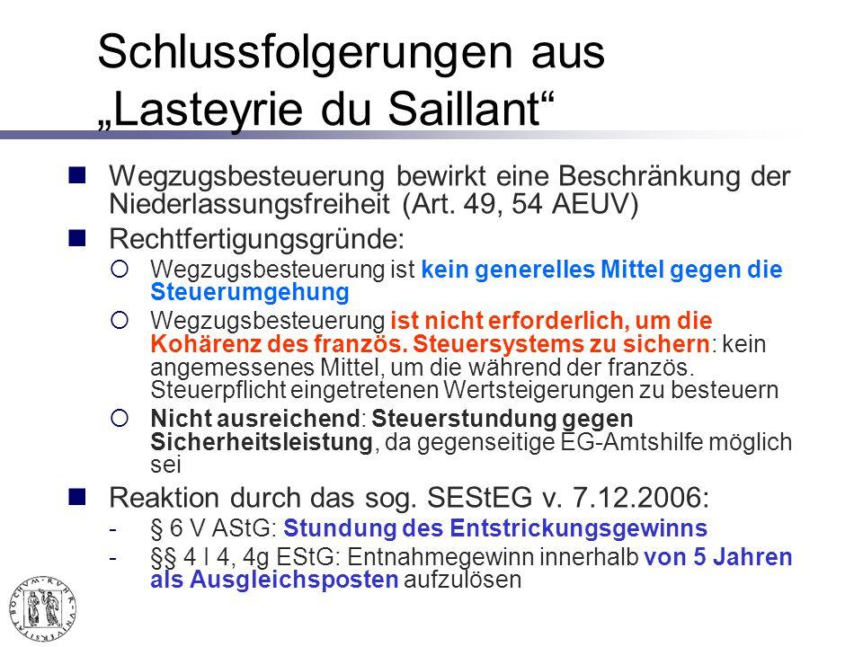 """Schlussfolgerungen aus """"Lasteyrie du Saillant"""