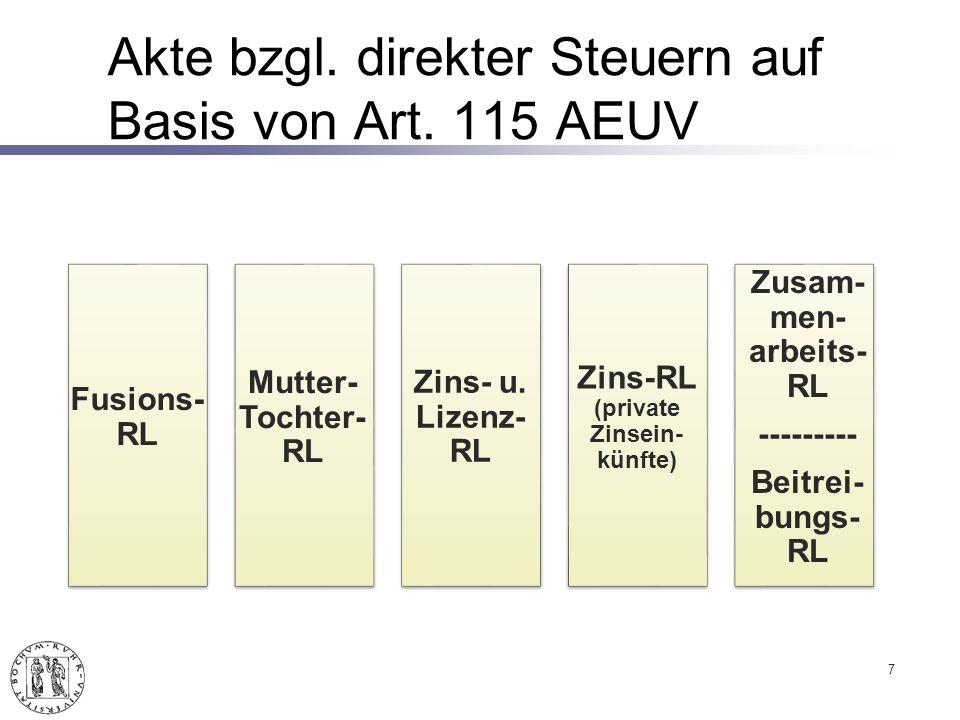 Akte bzgl. direkter Steuern auf Basis von Art. 115 AEUV