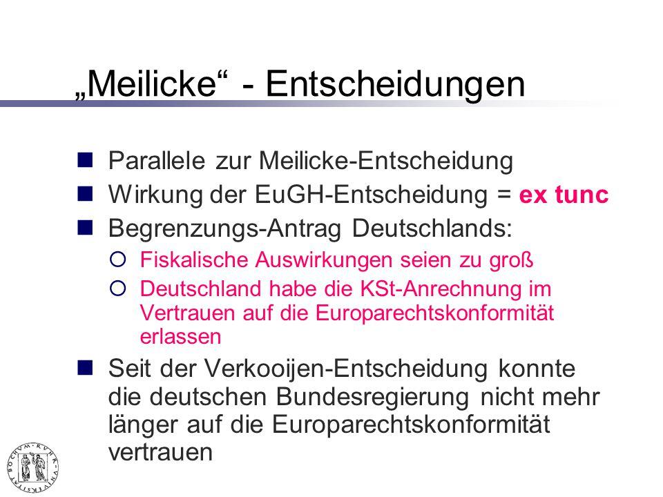"""""""Meilicke - Entscheidungen"""