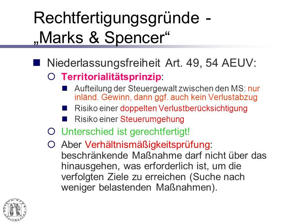"""Rechtfertigungsgründe -""""Marks & Spencer"""