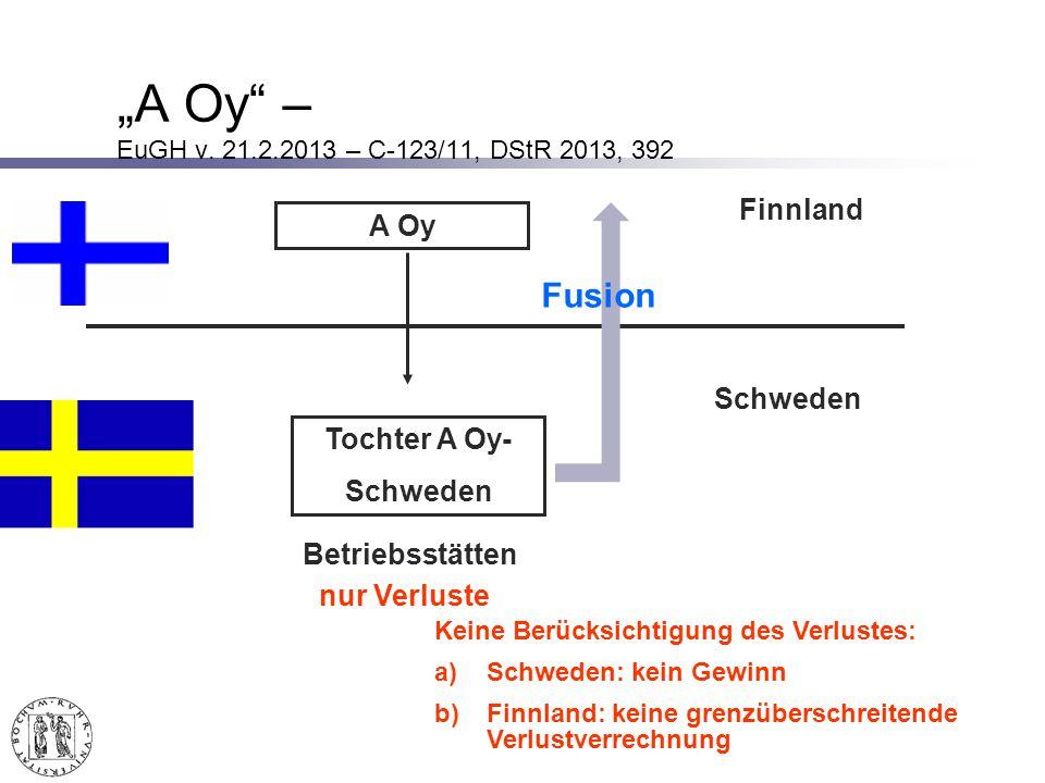 """A Oy – EuGH v. 21.2.2013 – C-123/11, DStR 2013, 392 Fusion Finnland"