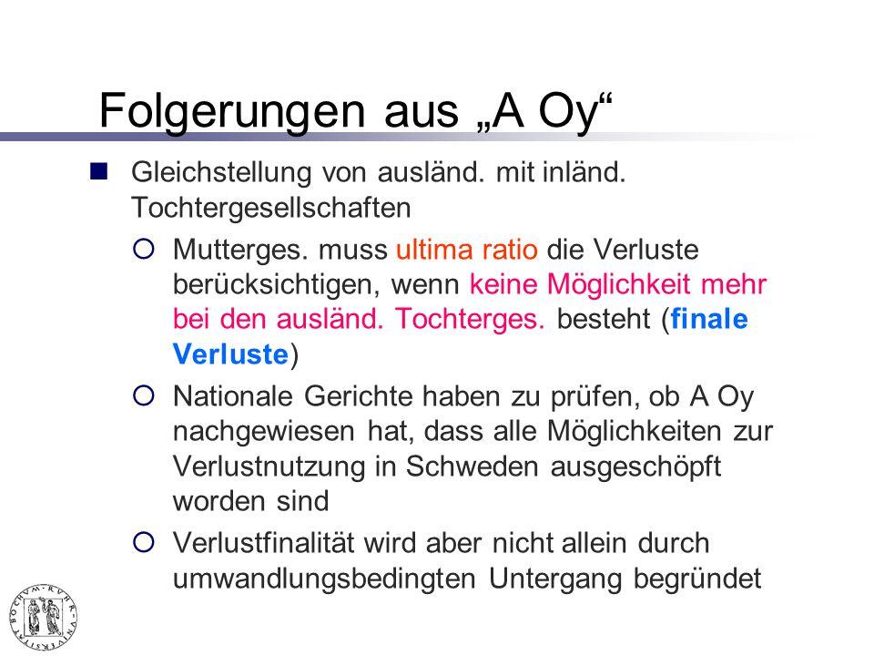 """Folgerungen aus """"A Oy Gleichstellung von ausländ. mit inländ. Tochtergesellschaften."""