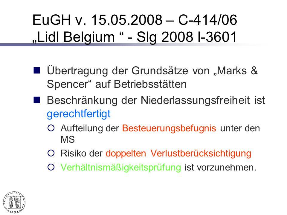 """EuGH v. 15.05.2008 – C-414/06 """"Lidl Belgium - Slg 2008 I-3601"""