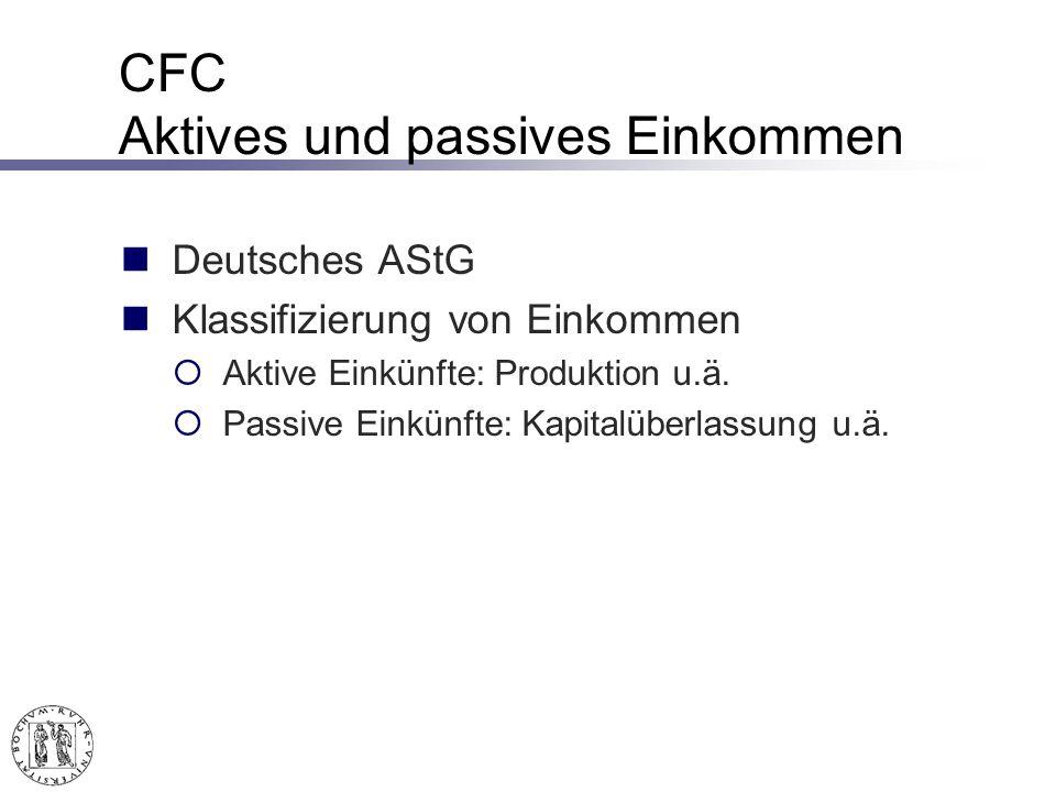 CFC Aktives und passives Einkommen