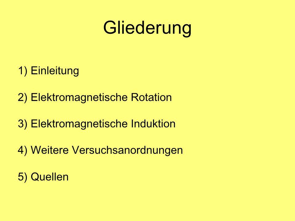 Gliederung 1) Einleitung 2) Elektromagnetische Rotation 3) Elektromagnetische Induktion 4) Weitere Versuchsanordnungen 5) Quellen