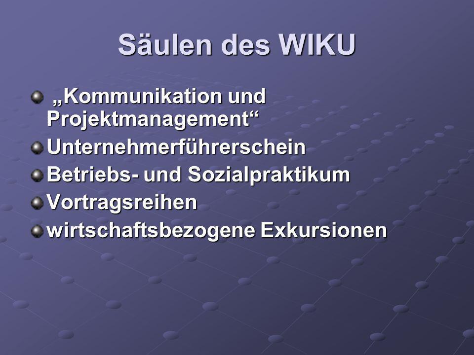 """Säulen des WIKU """"Kommunikation und Projektmanagement"""