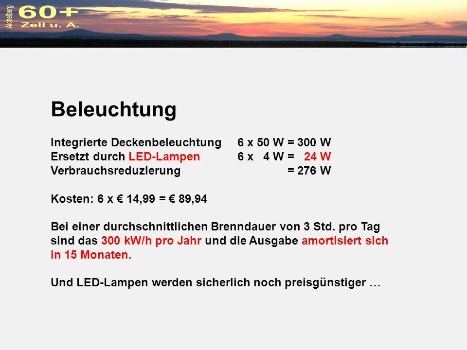 Beleuchtung Integrierte Deckenbeleuchtung 6 x 50 W = 300 W