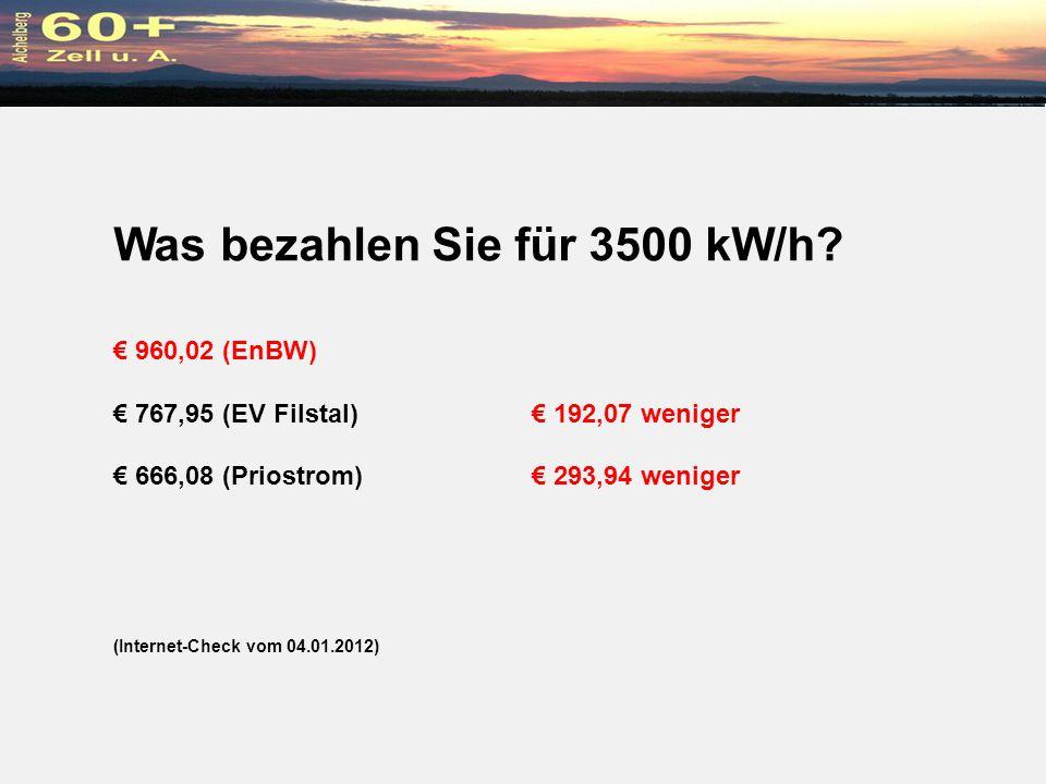 Was bezahlen Sie für 3500 kW/h