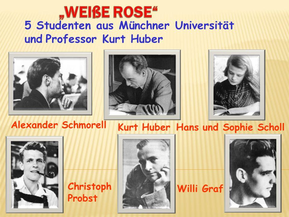 5 Studenten aus Münchner Universität und Professor Kurt Huber