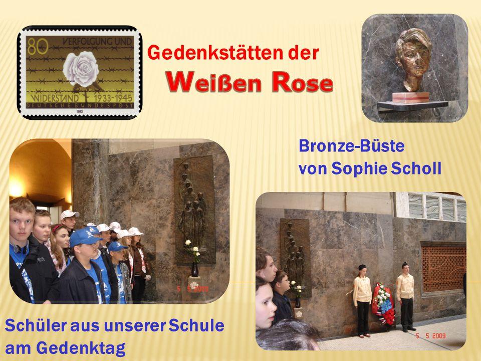 Weißen Rose Gedenkstätten der Bronze-Büste von Sophie Scholl