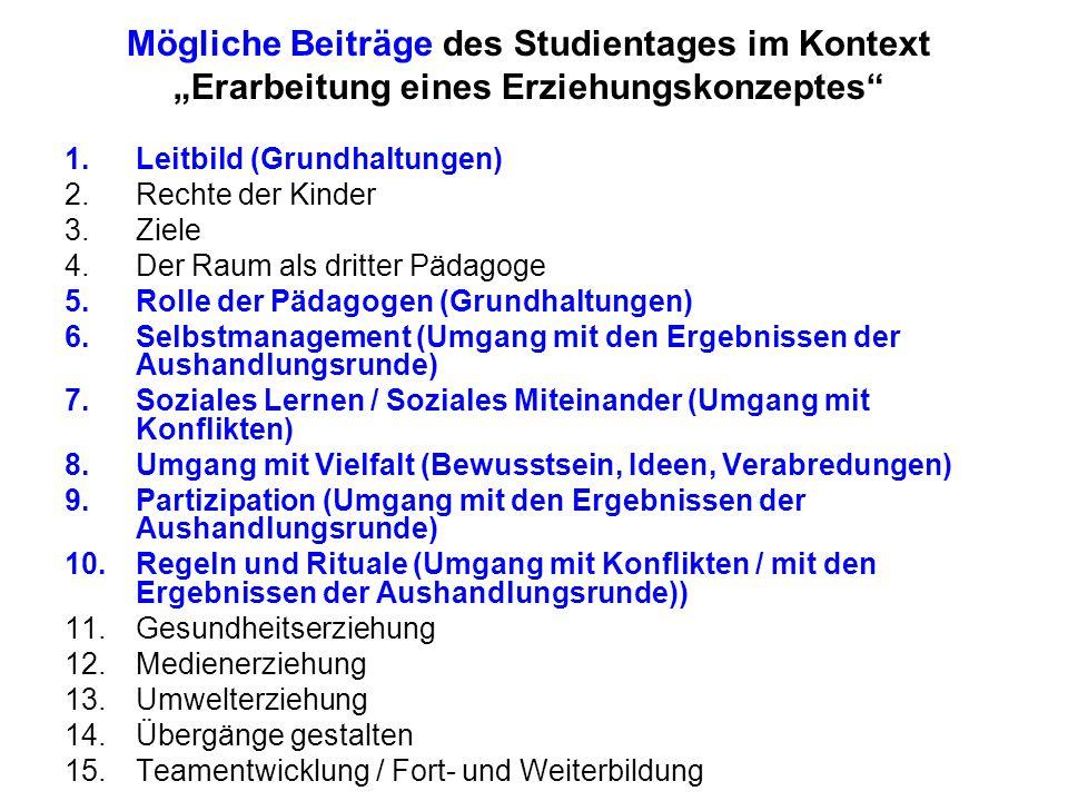 """Mögliche Beiträge des Studientages im Kontext """"Erarbeitung eines Erziehungskonzeptes"""