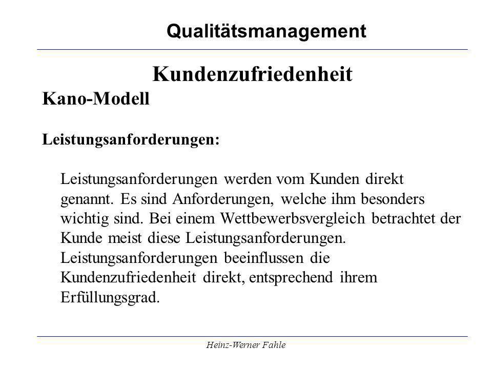 Kundenzufriedenheit Kano-Modell Leistungsanforderungen:
