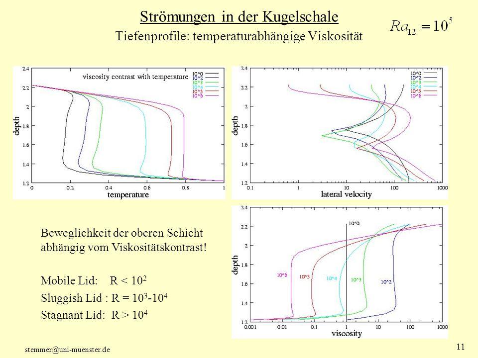 Strömungen in der Kugelschale Tiefenprofile: temperaturabhängige Viskosität
