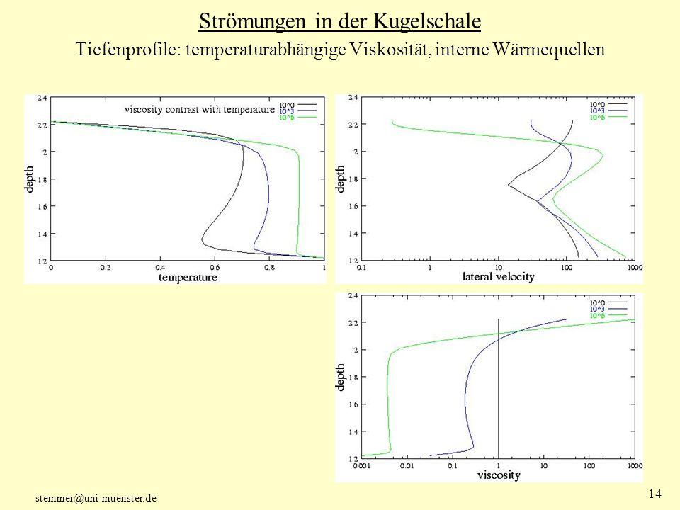 Strömungen in der Kugelschale Tiefenprofile: temperaturabhängige Viskosität, interne Wärmequellen