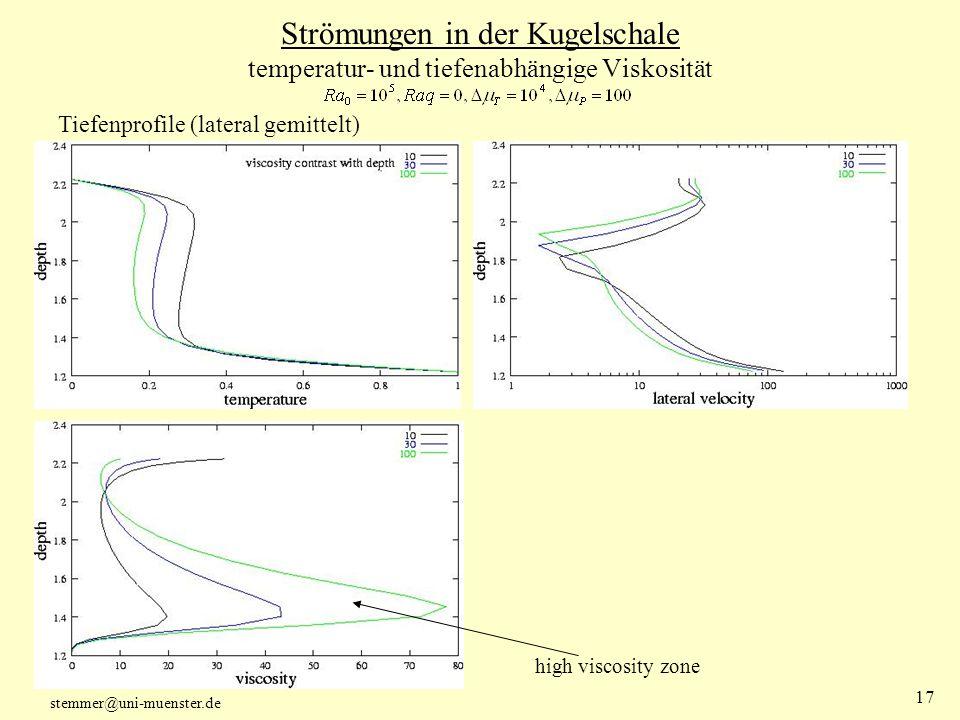 Strömungen in der Kugelschale temperatur- und tiefenabhängige Viskosität