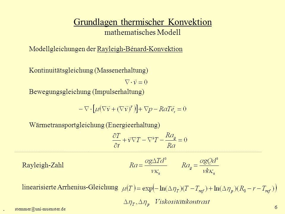 Grundlagen thermischer Konvektion mathematisches Modell