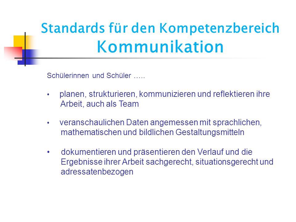 Standards für den Kompetenzbereich Kommunikation
