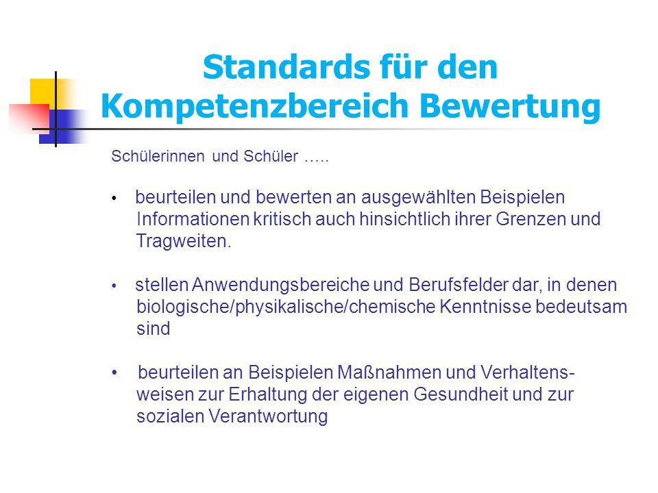 Standards für den Kompetenzbereich Bewertung