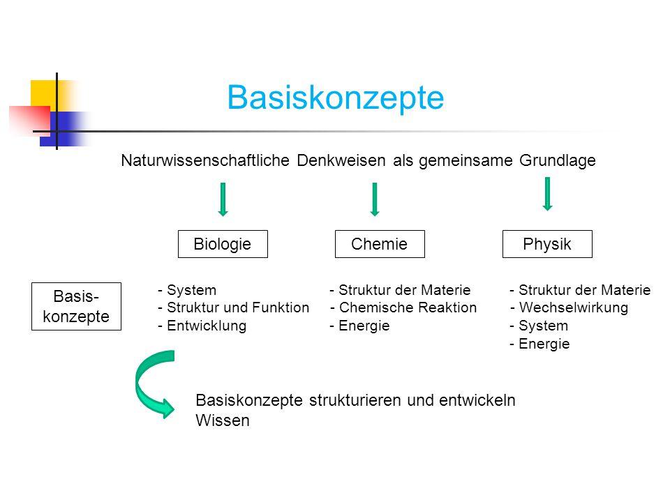 Basiskonzepte Naturwissenschaftliche Denkweisen als gemeinsame Grundlage. Biologie. Chemie. Physik.