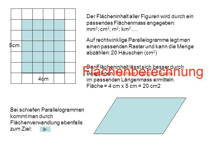 Der Flächeninhalt aller Figuren wird durch ein passendes Flächenmass angegeben: mm2; cm2; m2; km2….