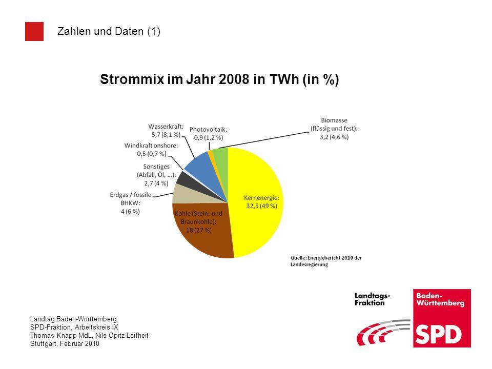 Strommix im Jahr 2008 in TWh (in %)