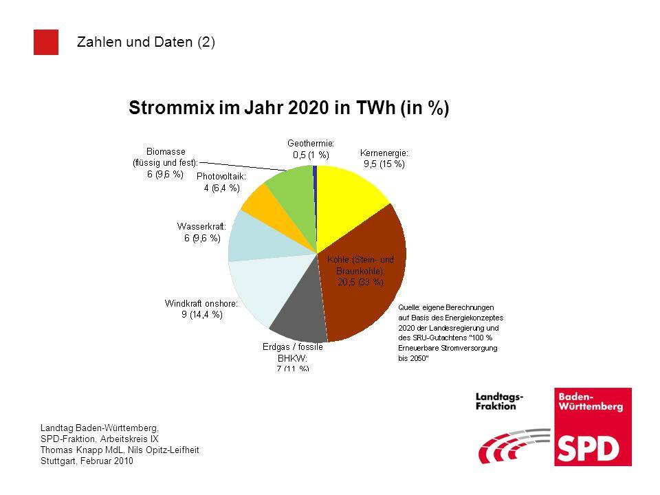 Strommix im Jahr 2020 in TWh (in %)