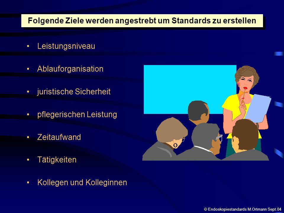 Folgende Ziele werden angestrebt um Standards zu erstellen