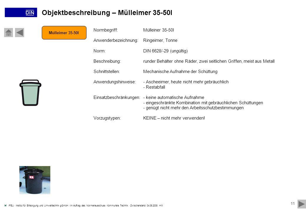 Objektbeschreibung – Mülleimer 35-50l
