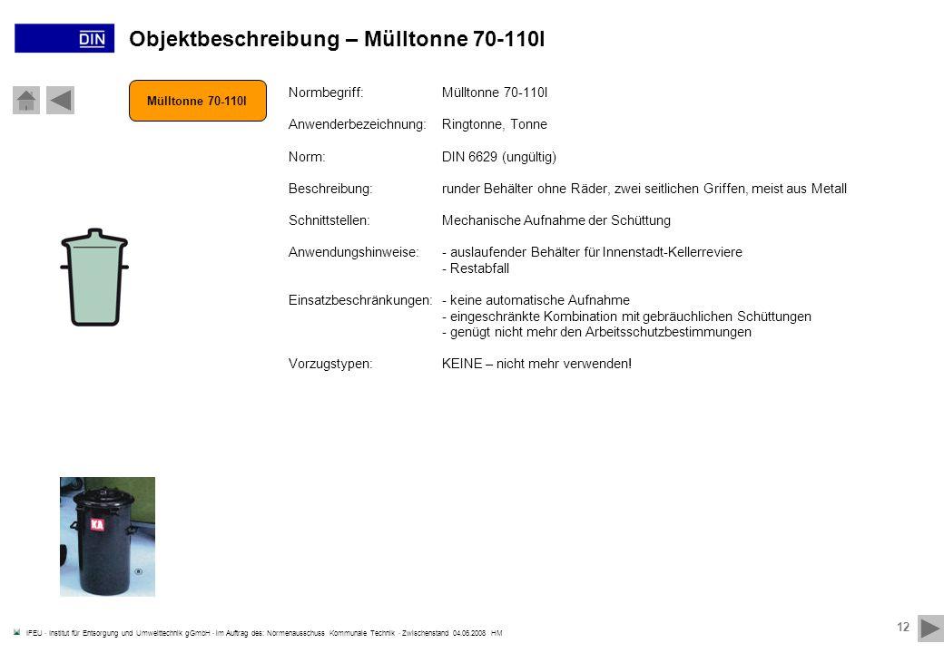 Objektbeschreibung – Mülltonne 70-110l