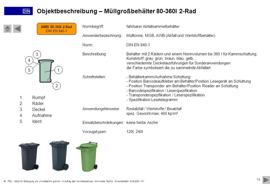 Objektbeschreibung – Müllgroßbehälter 80-360l 2-Rad