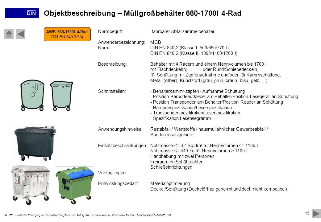 Objektbeschreibung – Müllgroßbehälter 660-1700l 4-Rad